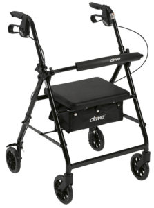 "Best Walkers for Older Adults - Drive Medical Aluminum Rollator Walker Fold Up and Removable Back Support, Padded Seat, 6"" Wheels"