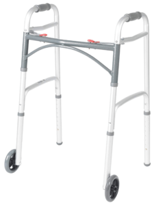 Best Walkers for Older Adults - Drive Medical Deluxe Two Button Folding Walker with 5-Inch Wheels
