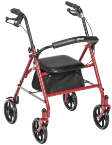 Best Walkers for Older Adults - Drive Medical Four Wheel Rollator with Fold Up Removable Back Support